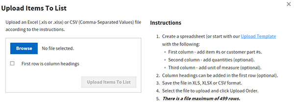 Upload items to list form screen shot